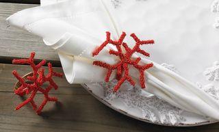 Coral beaded napkin rings