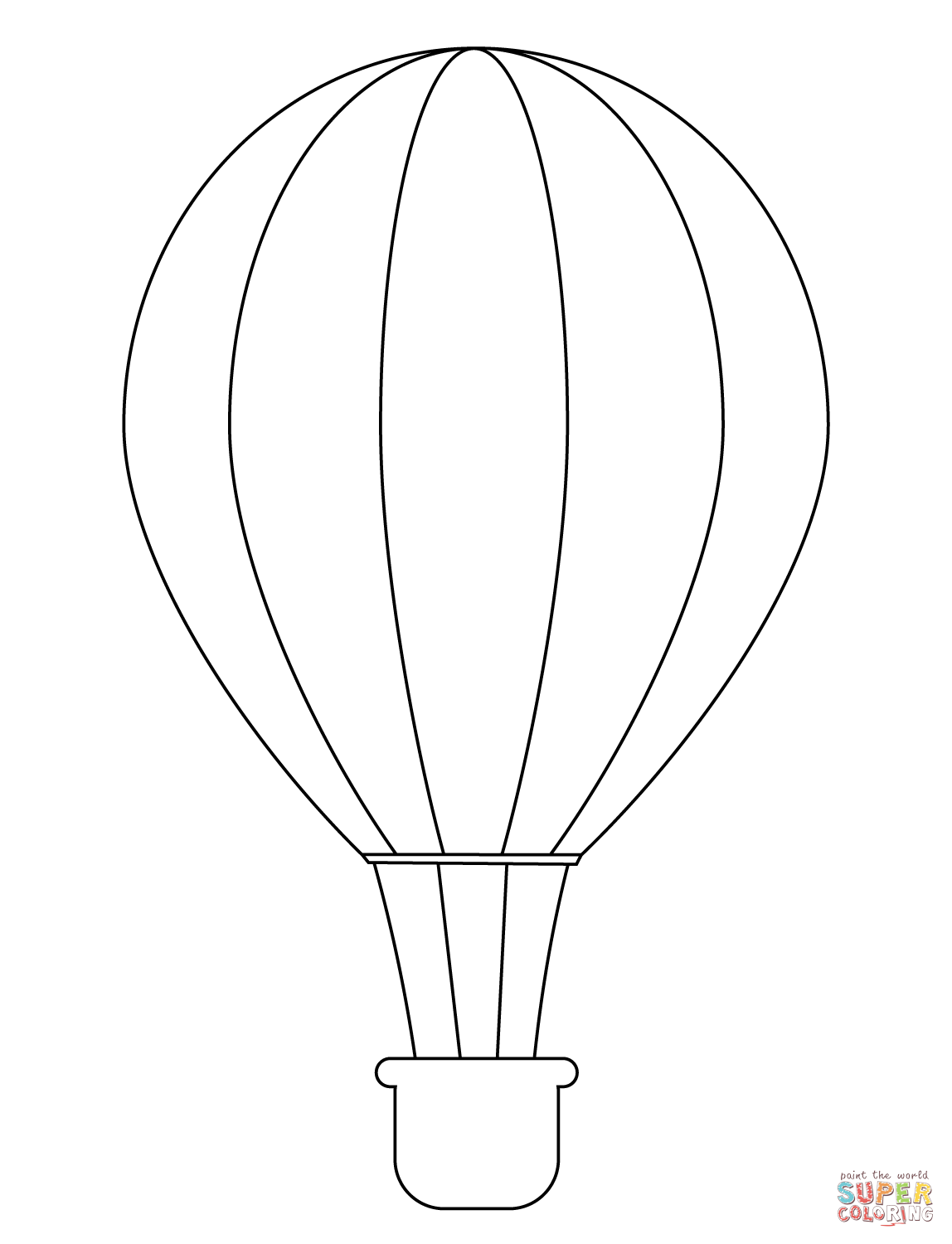 Simple Hot Air Balloon Coloring Page
