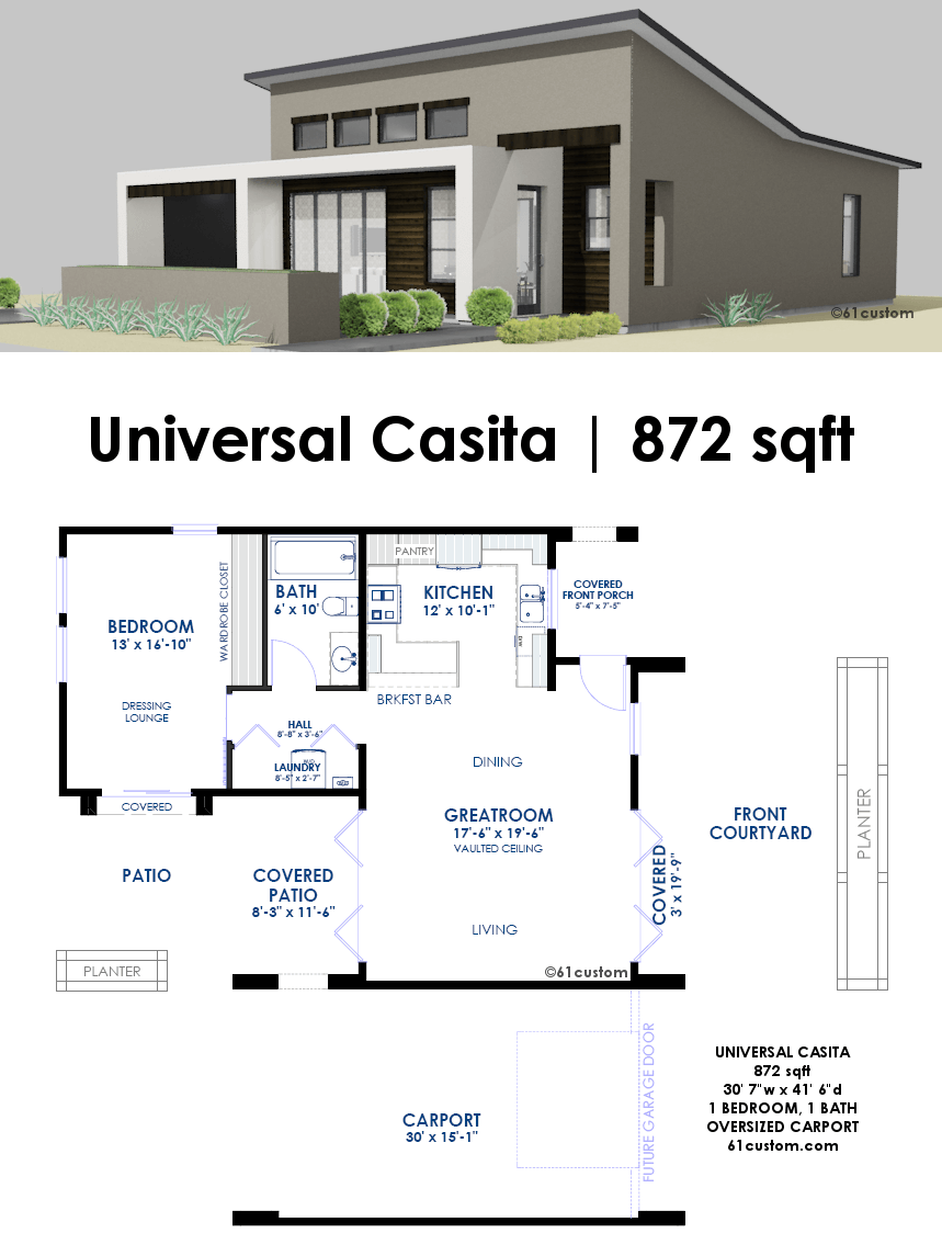 this 872 square foot 1 bedroom 1 bath house plan is a small contemporary house - Small Modern House Plans