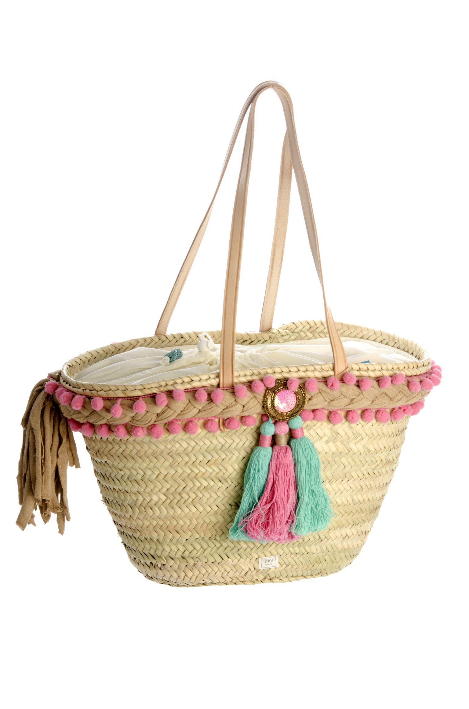 Capazo de mimbre cestas pinterest mimbre bolsos y - Capazos de mimbre decorados ...