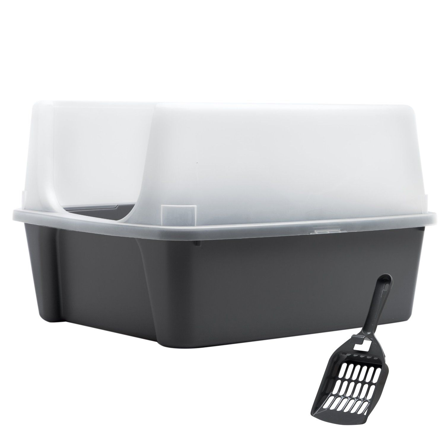 IRIS USA Open Top Litter Box with Shield and