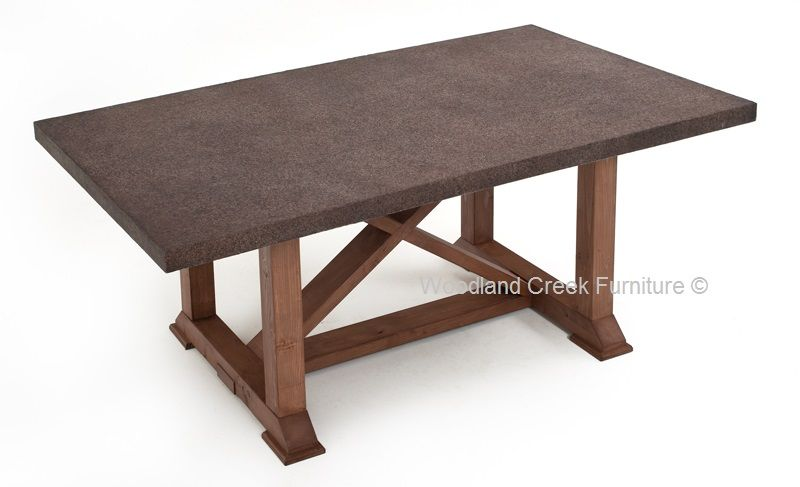 Casual Outdoor Table Patio Furniture Stone Top Concrete - Woodland patio furniture