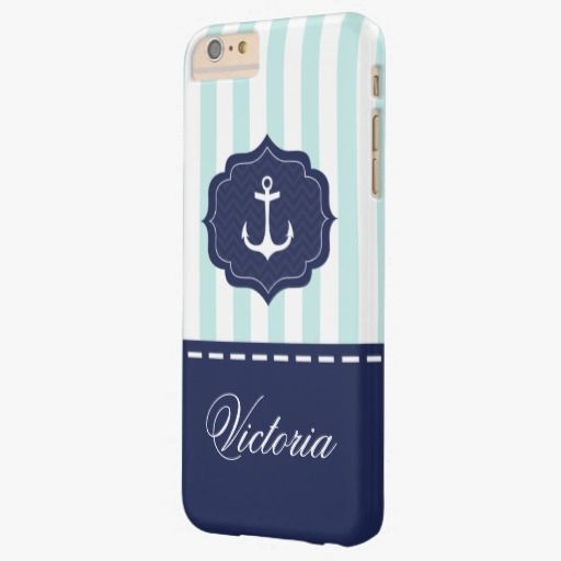Protect Your Device In Style With This Nautical Mint Navy Blue Anchor Custom Name Barely There Iphone 6 Plus Case Customizable Will Be