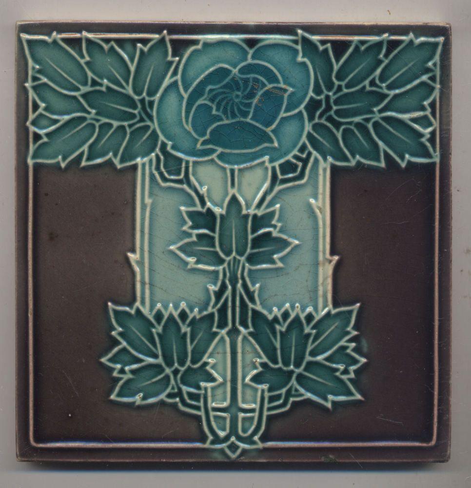 Details zu jugendstil fliese art nouveau tile minton mintons abstrakt floral abstract - Art deco fliesen ...