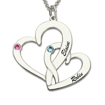 Let everyone know who has your heart with the customized heart necklace. This is a heart necklace with birthstone. Wear this personalized name necklace to show just who has your heart. If you'relooking for a Valentine's Day gift, personalized anniversary gift, or just a gift to show how much you love someone? Our hear