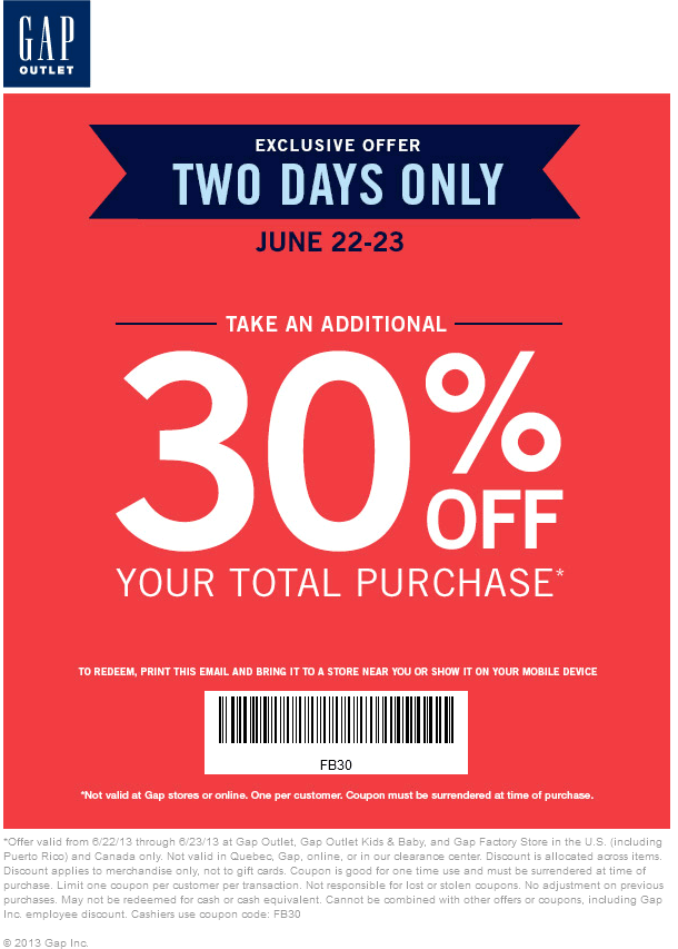 Pinned June 20th: Extra 30% off at Gap Outlet locations coupon via ...