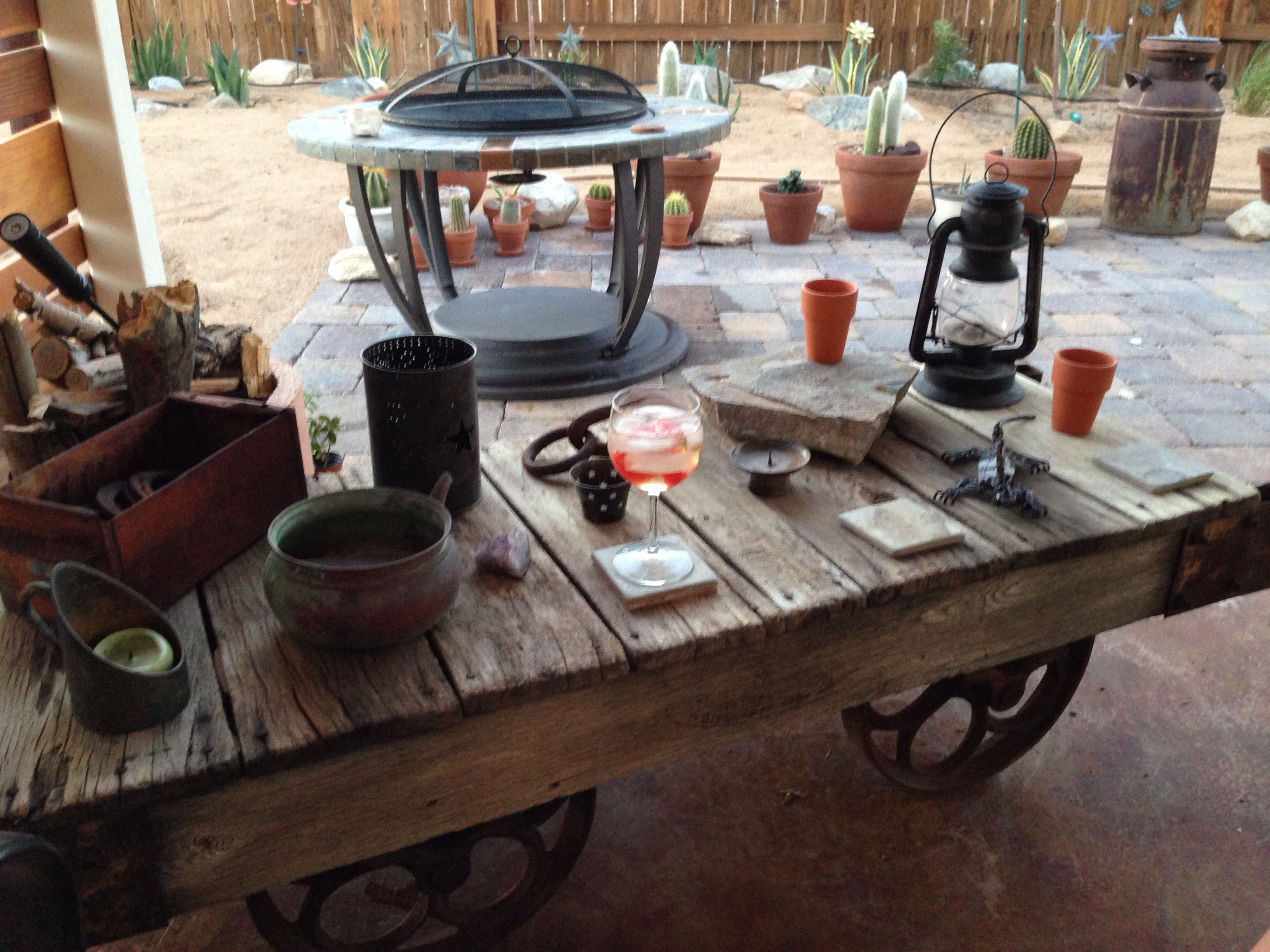 Vintage Push Cart (train Station Luggage / Ore Cart) Outdoor Patio Table [ Cart