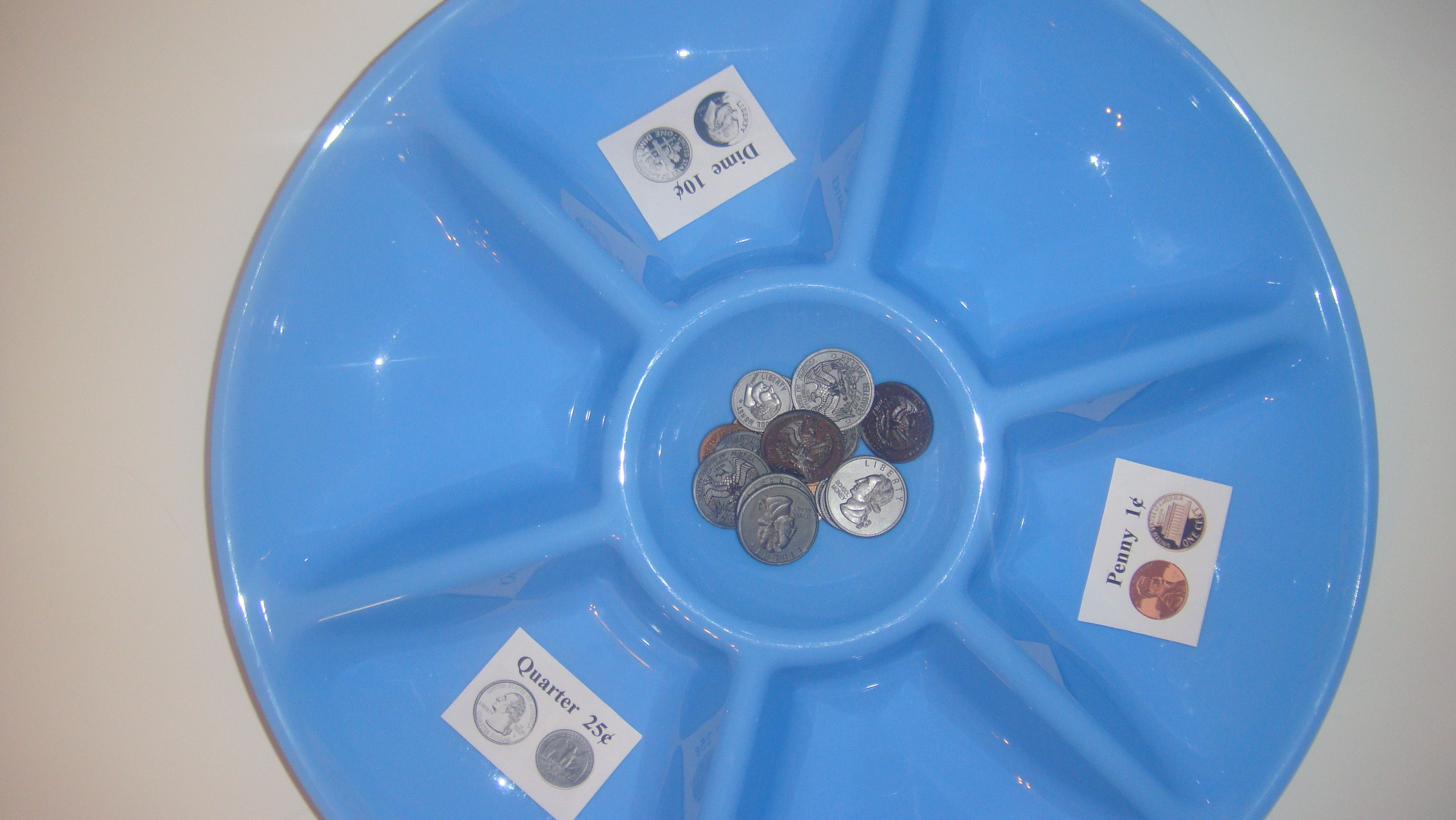 Toddler School Tray Coin Recognition And Sorting Penny