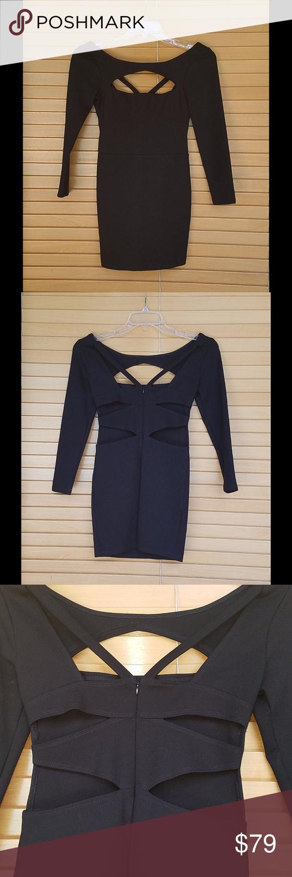 Nbd sexy black cutout mini dress with long sleeves mini dresses