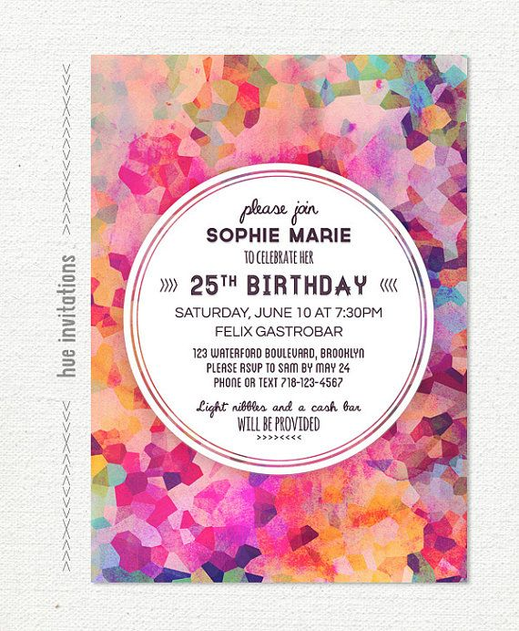 Birthday Invitation For Women Geometric Watercolor Party Invitations Purple Pink Coral Ma 25th