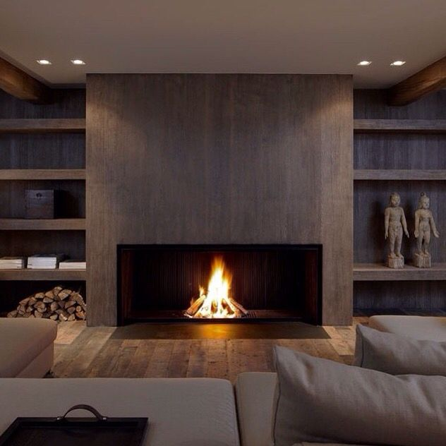 Fireplace Idea Flush To The Ground Spotlights Home