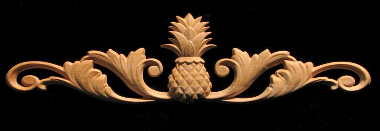 Carved wood onlay applique carved classic pineapple w for Pineapple carving designs