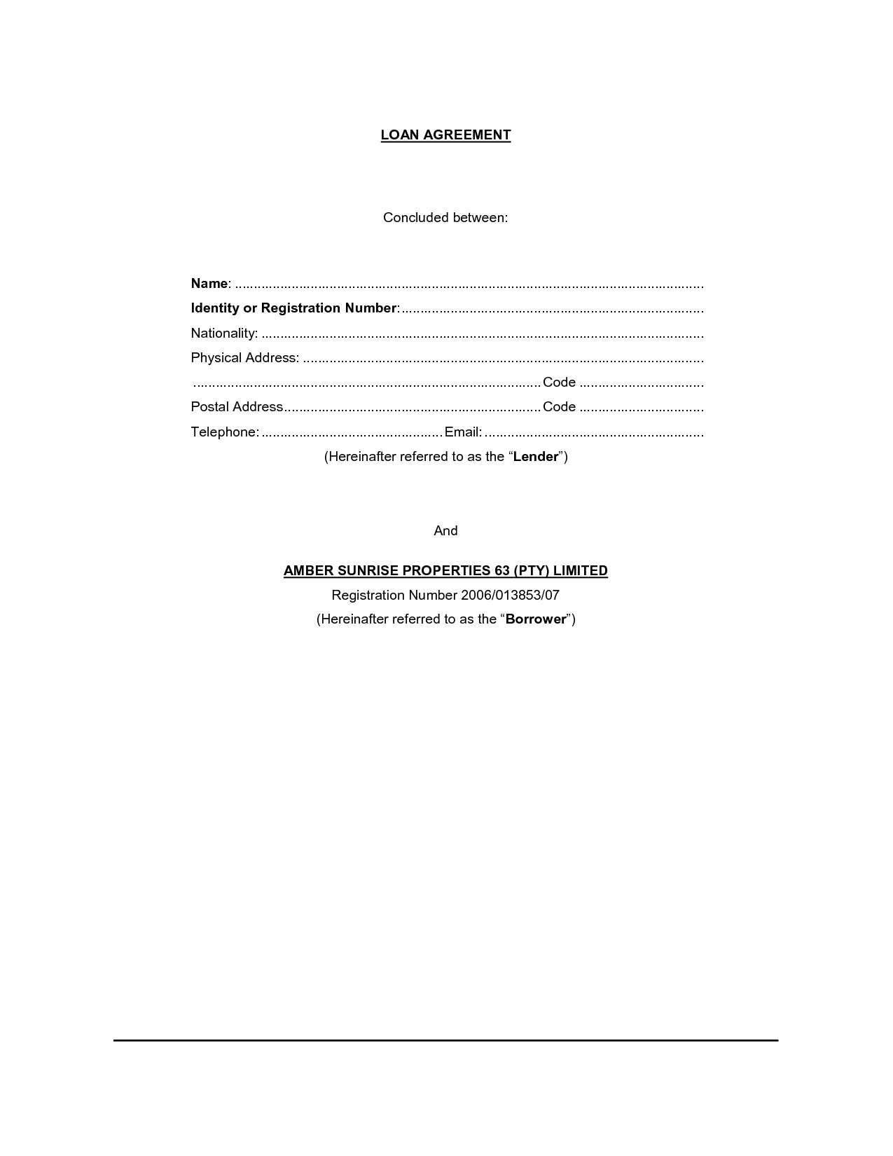 Printable Sample loan contract template Form – Printable Loan Agreement