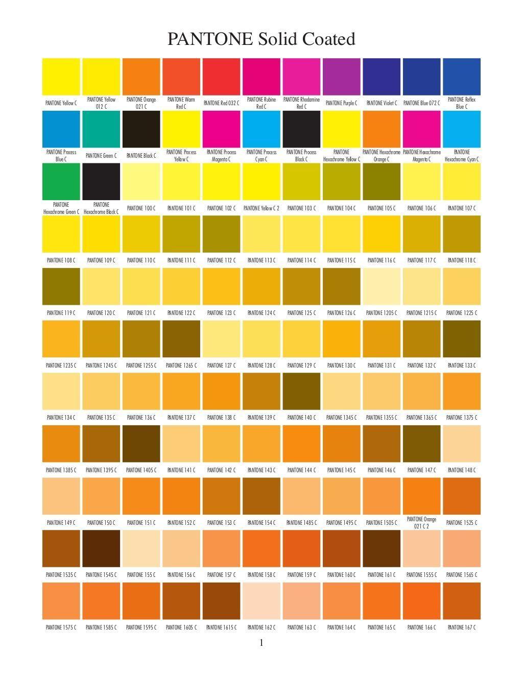 Pantone Solid Coated Color Charts Free Pdf Via Slideshare Colors