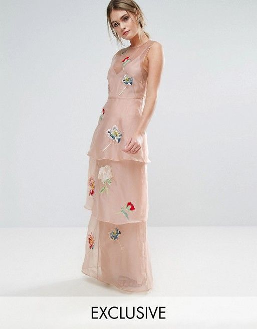 Hope & Ivy Tiered Maxi Dress With Floral Embroidery | Fashion online ...