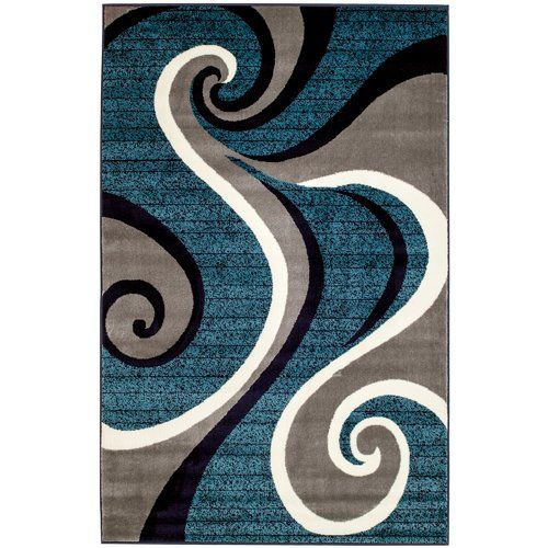 Rick Abstract Blue Gray White Area Rug Area Rugs Light Grey Area Rug Contemporary Area Rugs
