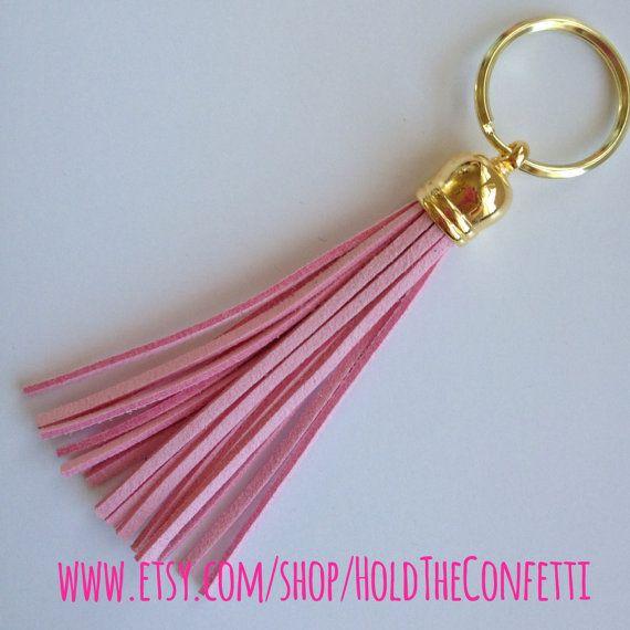Light Pink Suede Tassel Keychain Handbag Bag by HoldTheConfetti