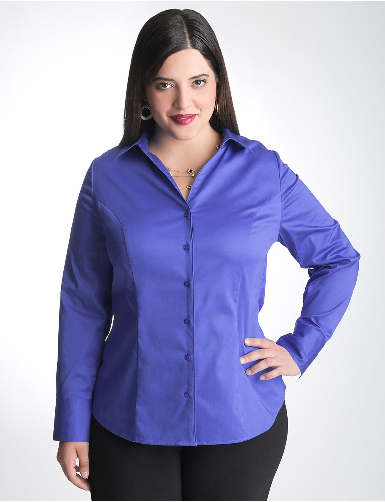 Full Figure Cotton Sateen Shirt | Lane Bryant | Full figure fashion ...