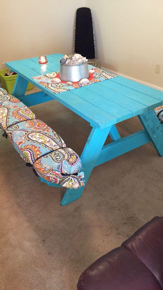 DIY picnic table seat cushions Picnic table wedding, Diy