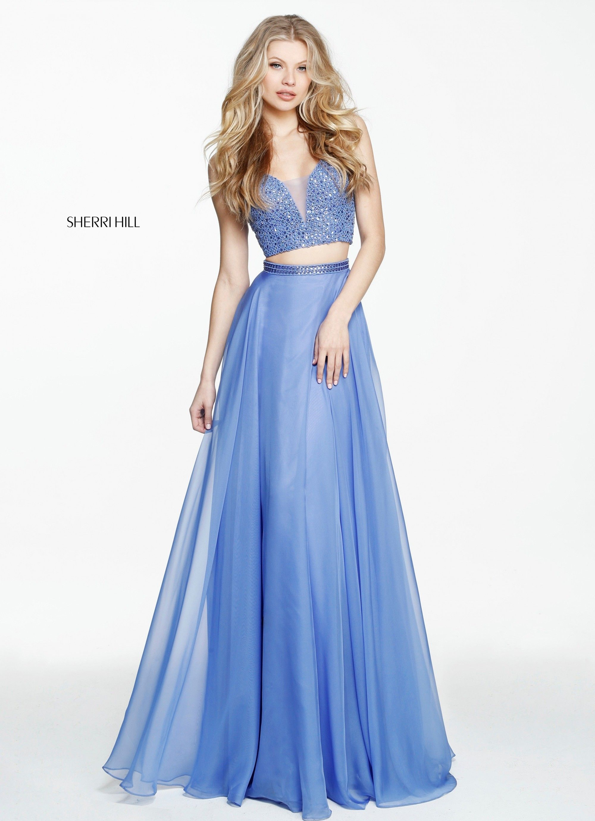 Fit For A Modern Day Princess Sherri Hill 50800 Is Pictured In Periwinkle This Jeweled Crop Top P Sherri Hill Prom Dresses Piece Prom Dress Cute Prom Dresses [ 2760 x 2000 Pixel ]