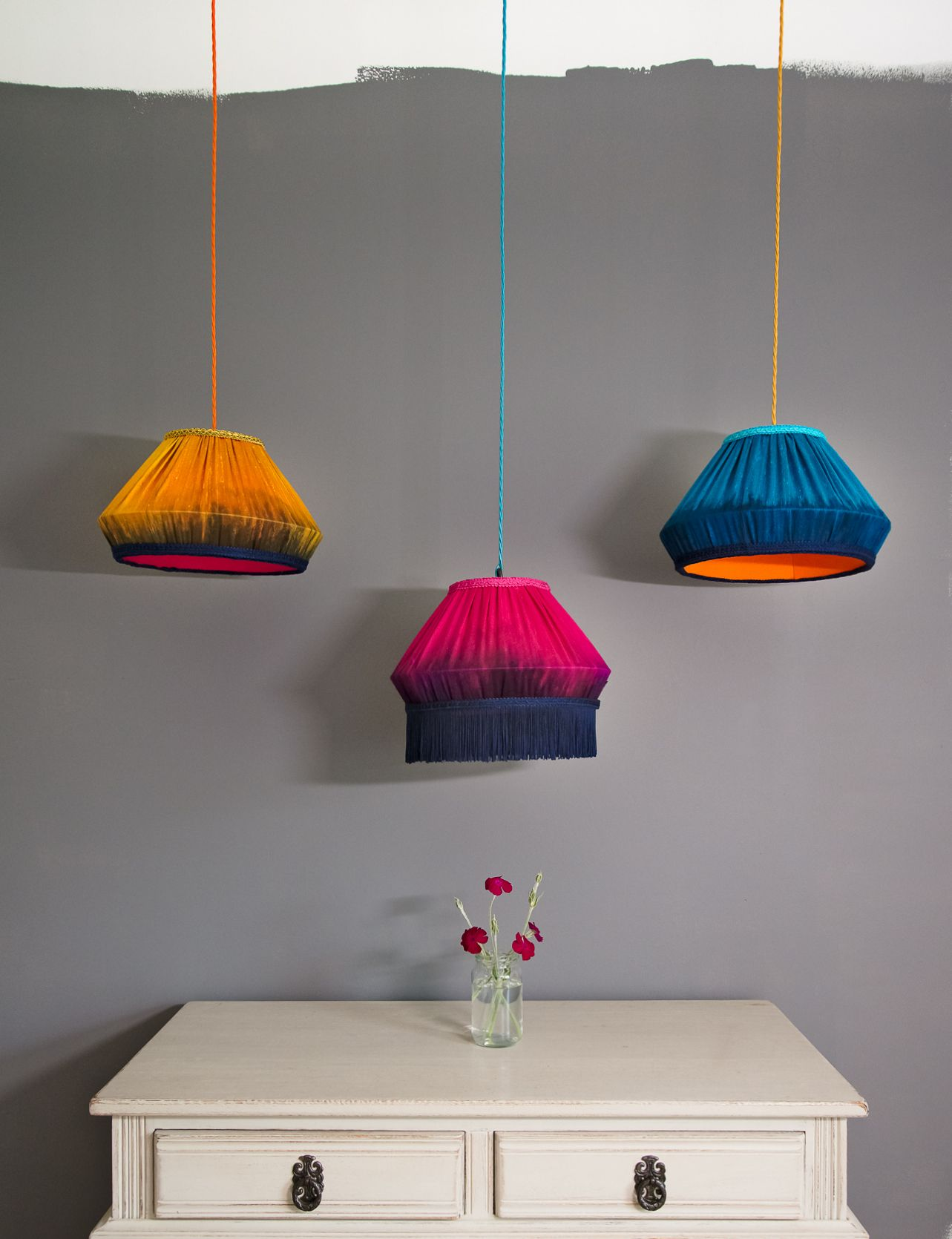 Paper Lampshades In Deep Saturated Colors Of Raspberry Aqua And Yellow Cute Home Decor Decor Paper Lampshade