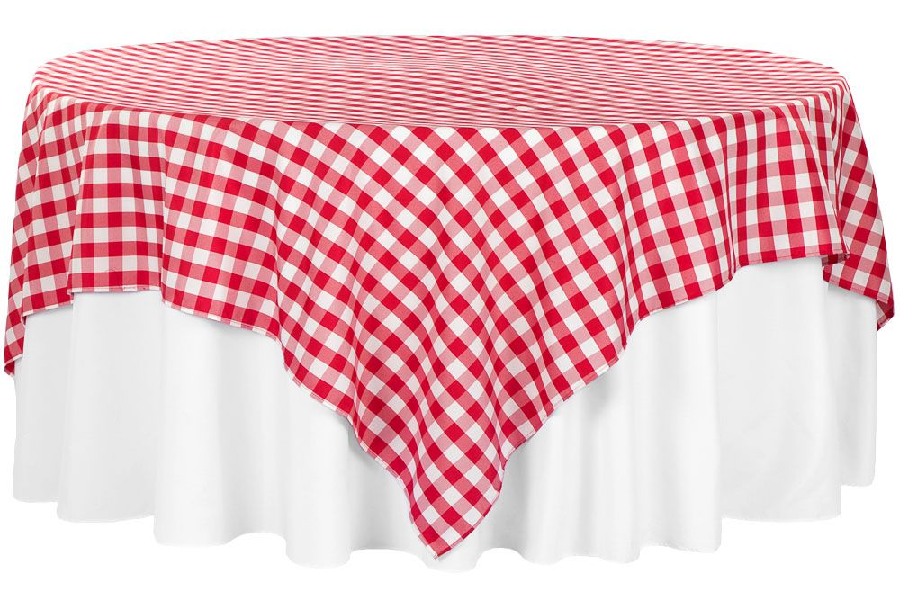 Gingham Checkered Square 90 X90 Polyester Overlay Tablecloth