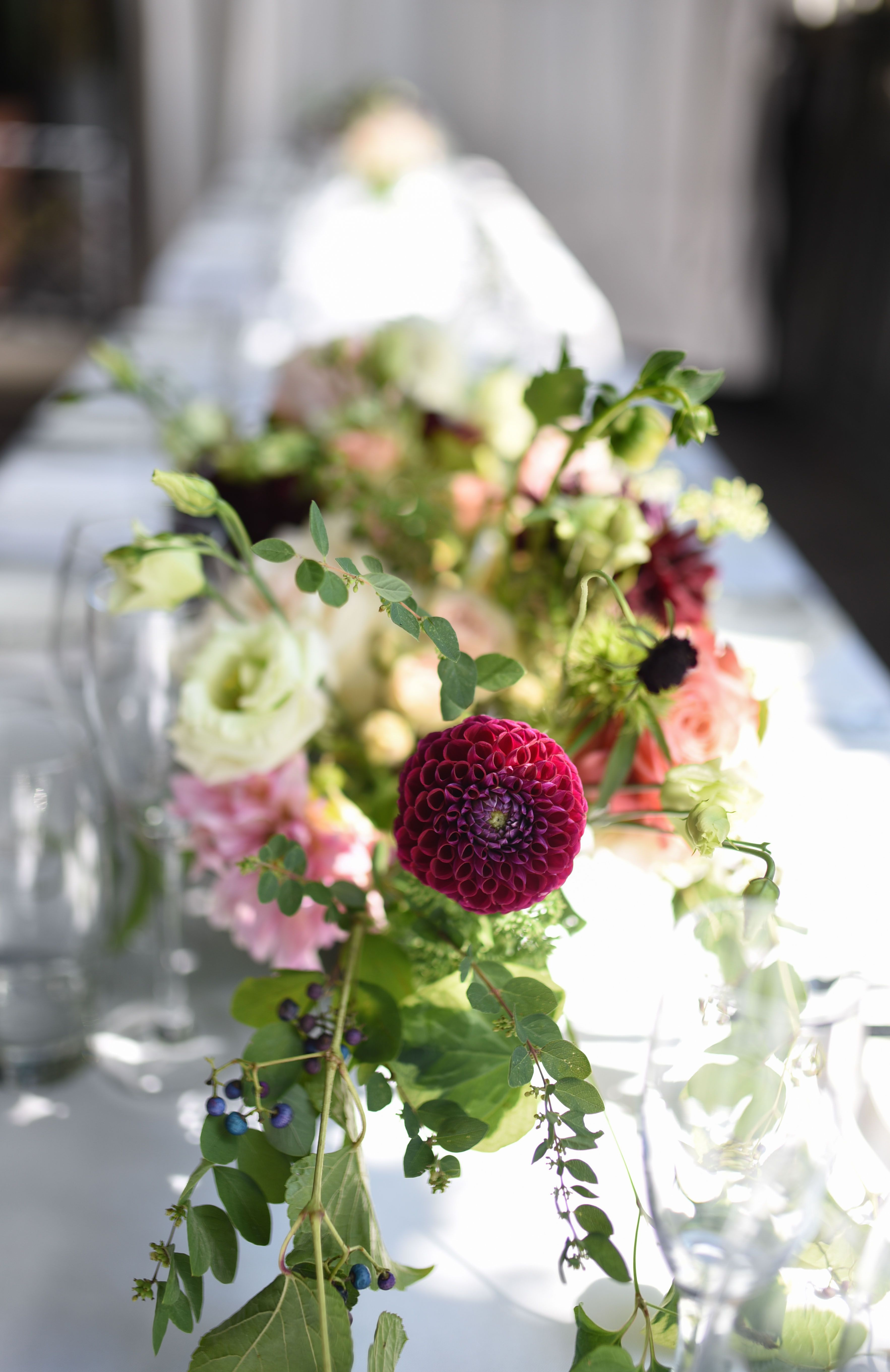 Lush pale and deep toned late summer flower centerpieces