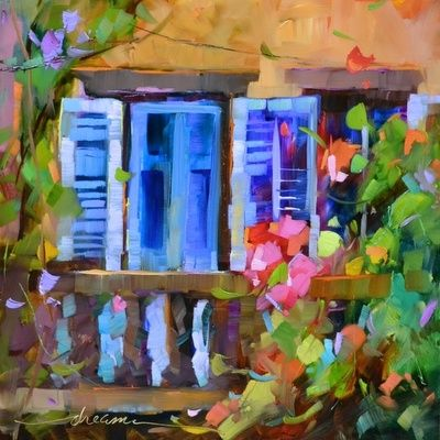 Shutters Blue, Garden Green, Roses Pink SOLD, painting by artist Dreama Tolle Perry