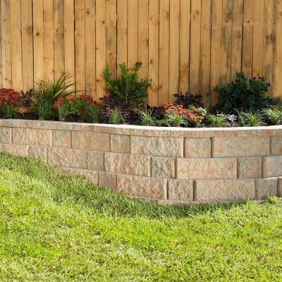 Pavestone Rockwall 6 In X 18 In Palomino Large Garden Wall Block 48 Pieces Per Palle Concrete Retaining Walls Landscaping Retaining Walls Front Yard Decor