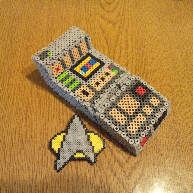 3D Star Trek communicator perler beads by kiiro_magura