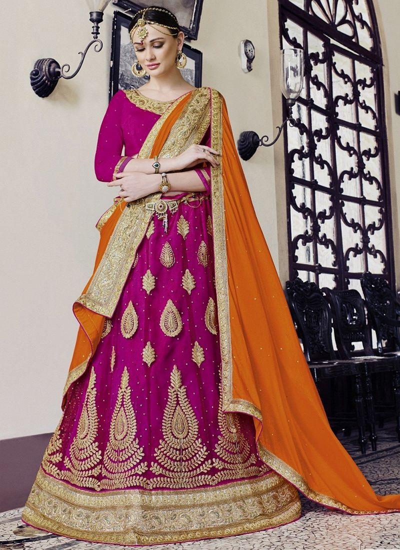 We offer latest & exclusive casual wear lehenga choli. Free shipping and cod. Order this magenta net lehenga choli.