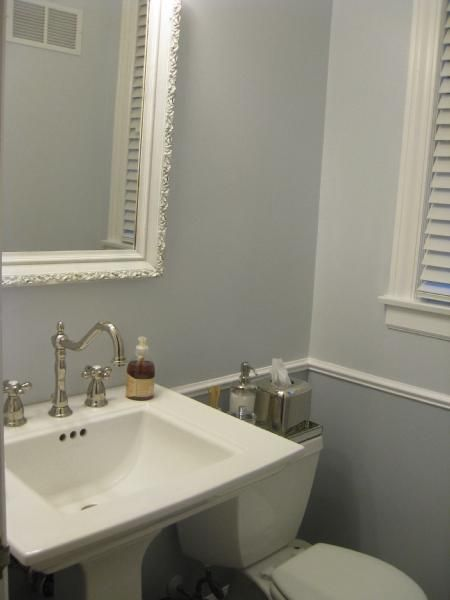 Painted In Benjamin Moore Feather Gray Top Part Above