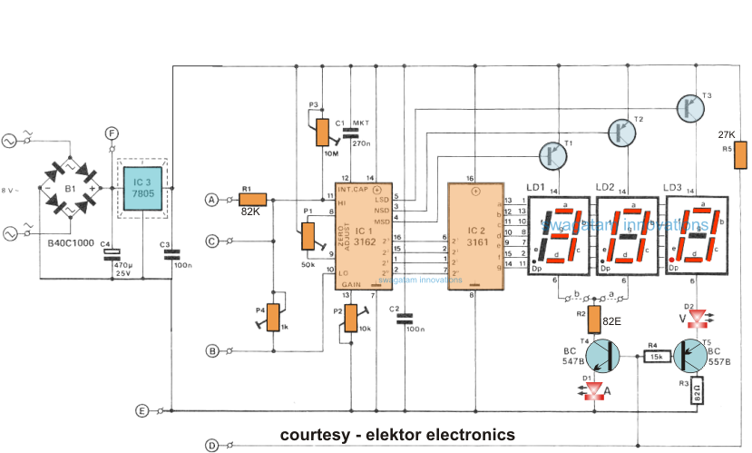 How To Make A Digital Voltmeter Ammeter Circuit Module: Led Voltage Meter Wiring Diagram At Kopipes.co