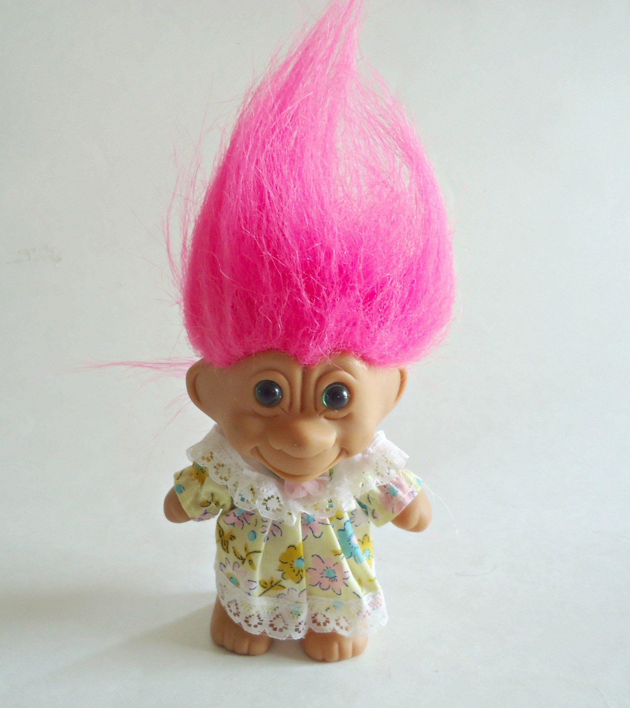 Vintage Troll Doll Girl Troll Doll Pink Hair Green Eyes Trolls 5