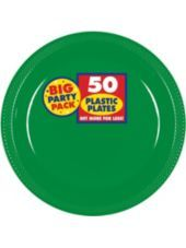 Festive Green Plastic Dinner Plates 10 1/2in 50ct-Paper, Plastic Plates-Solid Color Tableware-Party City