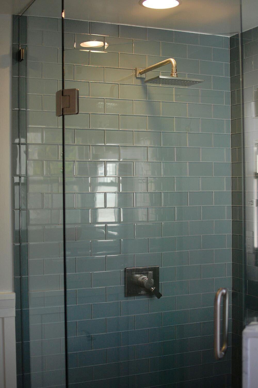 Ocean Glass Subway Tile Shower Found at bwaytileoutlet