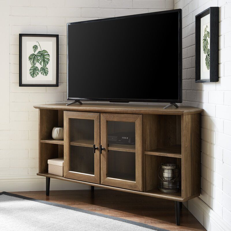 Gerardo Corner Tv Stand For Tvs Up To 55 In 2020 Corner Tv Console Corner Tv Stand Corner Tv
