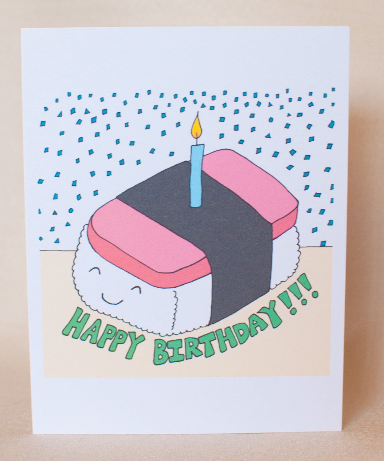 Spam Musubi Birthday Cake Card Hawaiian Card Spam Onigiri – Japanese Birthday Cards