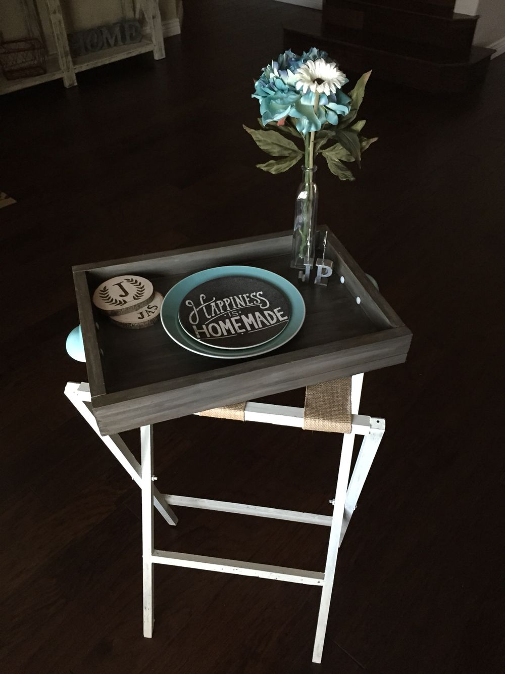 DIY butler tray, stand and wood burned coasters