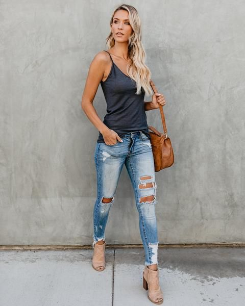 Malibu Cami Tank  Charcoal is part of Simple summer outfits -