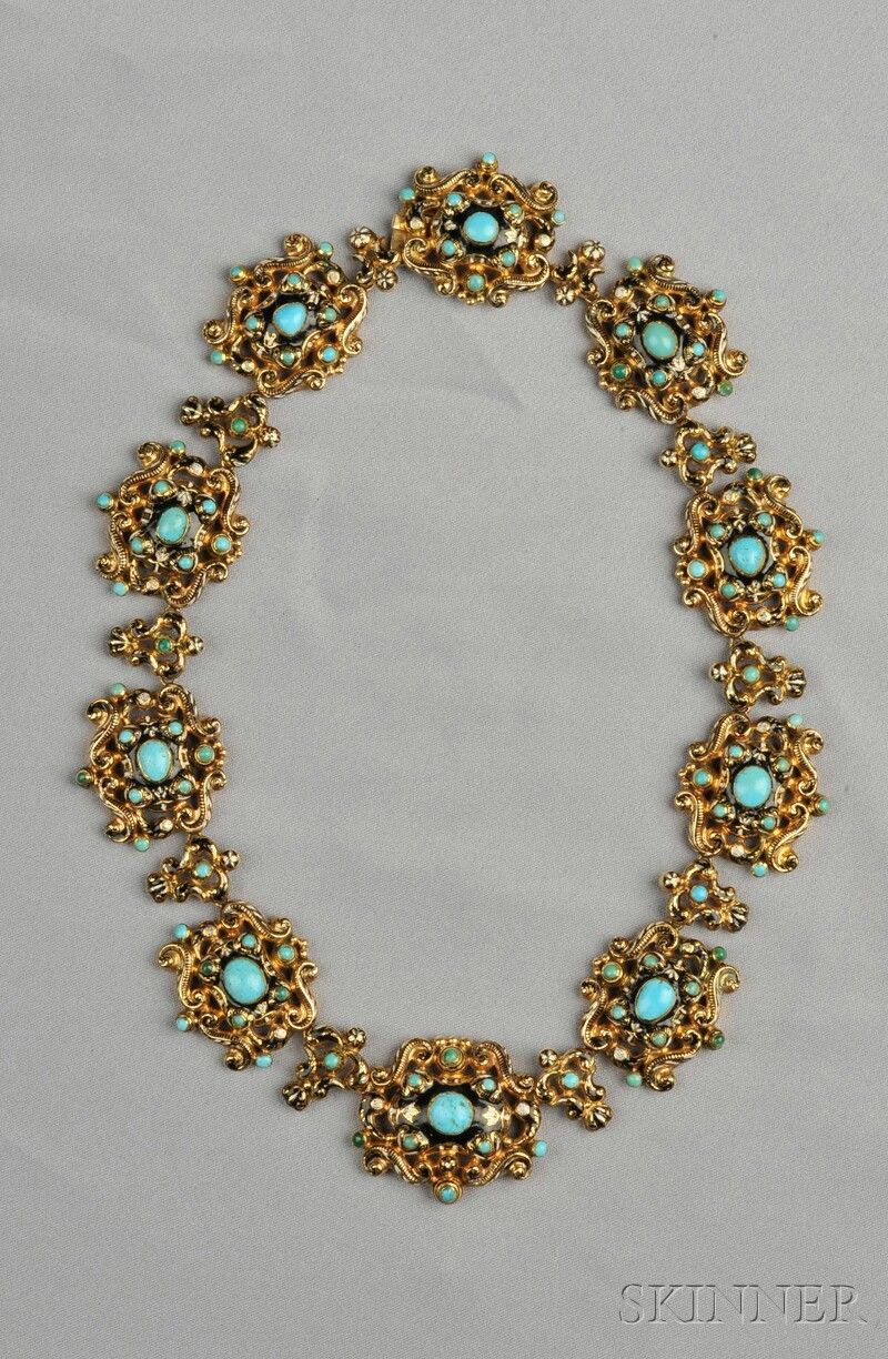Renaissance Revival Gold, Turquoise, and Enamel Necklace, the enamel scrolling links set with turquoise cabochons, lg. 17 1/8 in., Continental hallmarks, boxed.