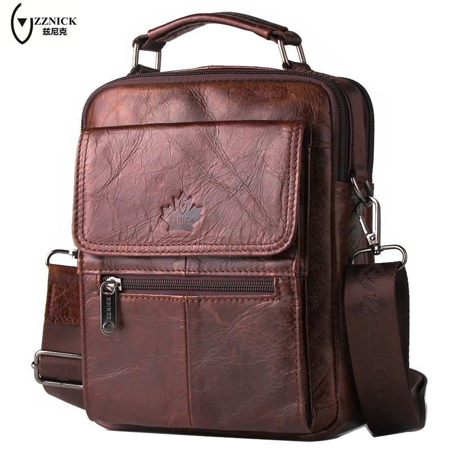 Free Shipping Best Zznick 2017 Fashion Genuine Leather Men Briefcase