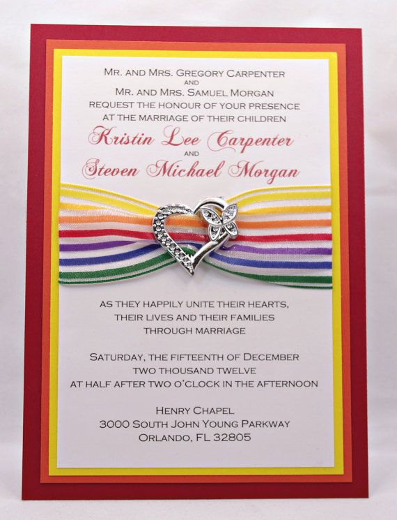 This rainbow wedding invitation is SO cute I am in love with the
