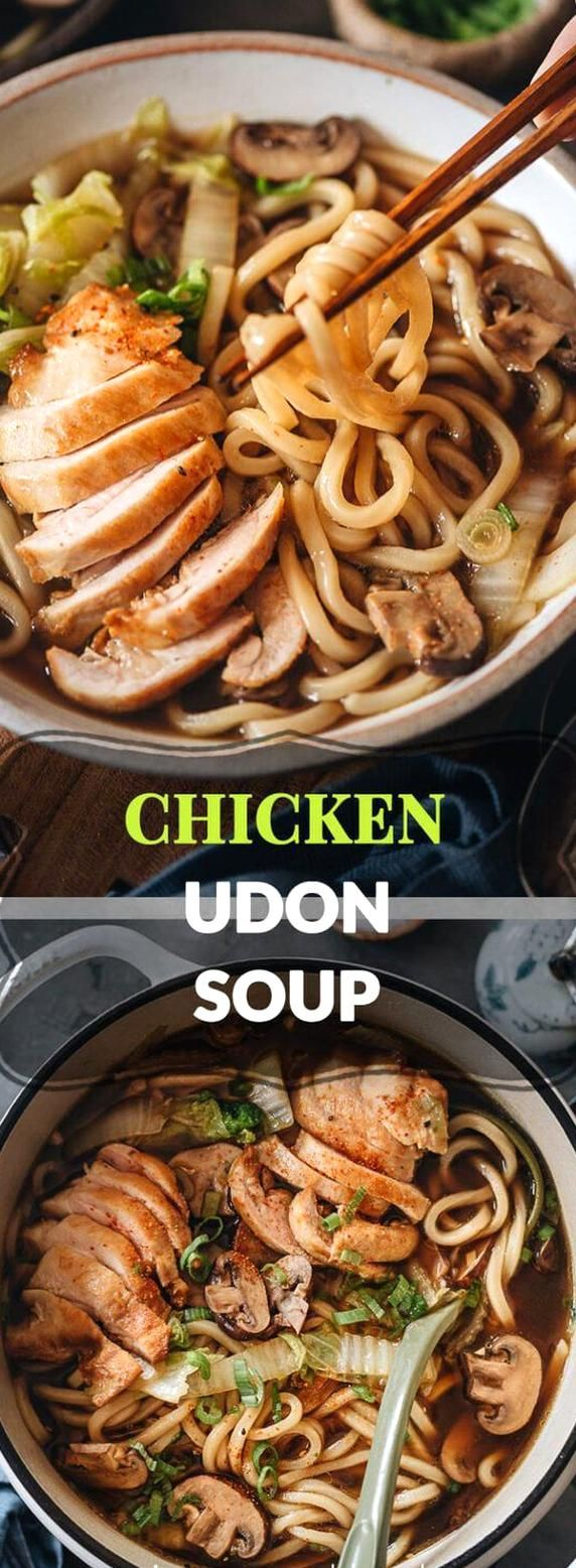 Chicken Udon Soup A Super Easy One Pot Noodle Soup Recipe That Guarantees Maximum Flavor With Beautifully Seared Chi In 2020 Chicken Udon Soup Udon Soup Chicken Udon