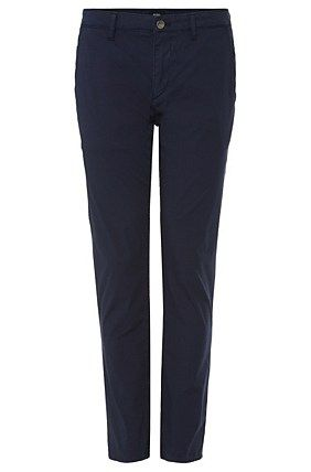Tapered-fit jeans in stretch cotton: 'Lowell-20', Dark Blue