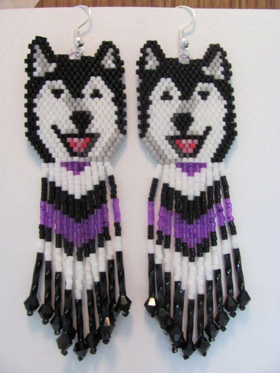 39 Hand Beaded Laughing Black wolf Husky Alaskan by beadfairy1, $13.95 On Etsy