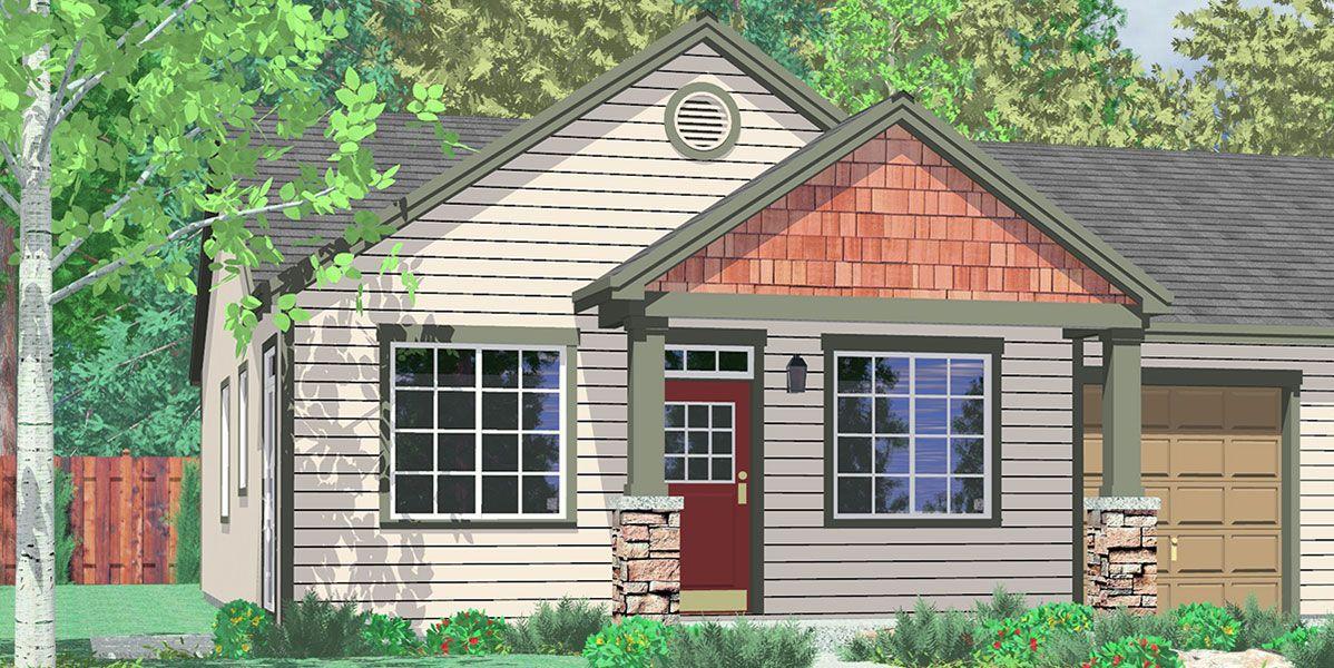 House front color elevation view for D590 Duplex house