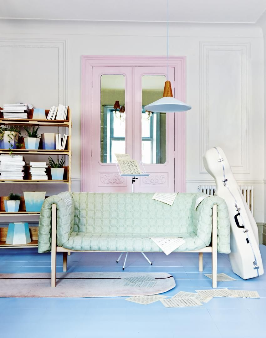 Pastel Living Room with Mint Green Sofa and Cello Case | Ideas for ...