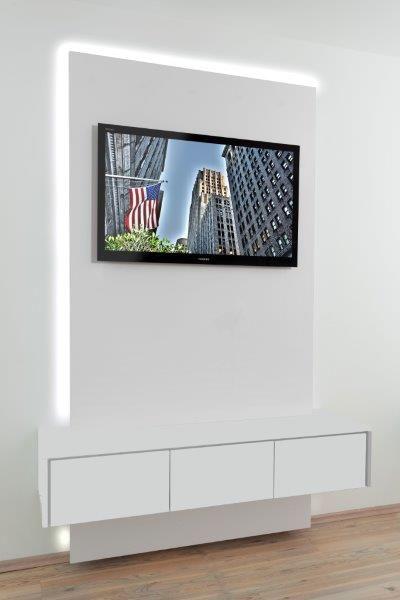 TV-Wand, Breite 1.200 mm, mit Sideboard 3-türig, Farbkombination ...
