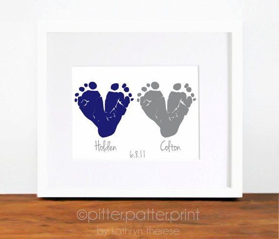 Twin Gift  Baby Footprint Navy Gray  Gift for por PitterPatterPrint